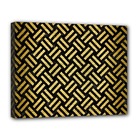 Woven2 Black Marble & Gold Brushed Metal Canvas 14  X 11  (stretched) by trendistuff