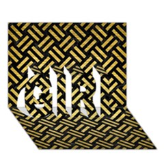 Woven2 Black Marble & Gold Brushed Metal Girl 3d Greeting Card (7x5) by trendistuff