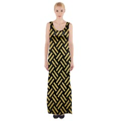 Woven2 Black Marble & Gold Brushed Metal Maxi Thigh Split Dress by trendistuff