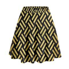Woven2 Black Marble & Gold Brushed Metal High Waist Skirt by trendistuff