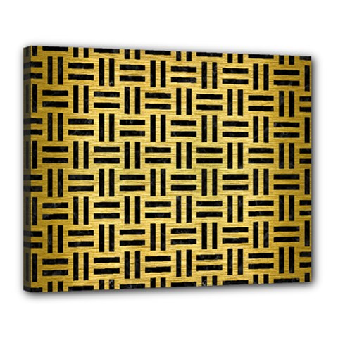Woven1 Black Marble & Gold Brushed Metal (r) Canvas 20  X 16  (stretched)