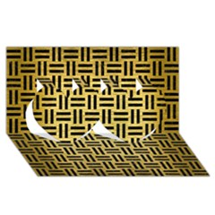 Woven1 Black Marble & Gold Brushed Metal (r) Twin Hearts 3d Greeting Card (8x4) by trendistuff