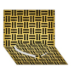 Woven1 Black Marble & Gold Brushed Metal (r) Heart Bottom 3d Greeting Card (7x5) by trendistuff