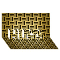 Woven1 Black Marble & Gold Brushed Metal (r) Hugs 3d Greeting Card (8x4)