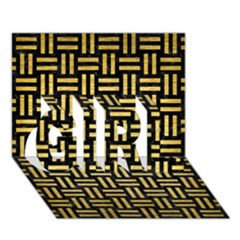 Woven1 Black Marble & Gold Brushed Metal Girl 3d Greeting Card (7x5) by trendistuff