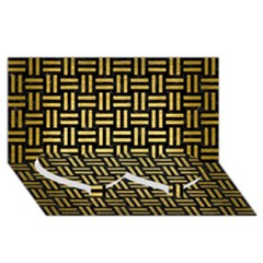 Woven1 Black Marble & Gold Brushed Metal Twin Heart Bottom 3d Greeting Card (8x4)