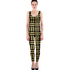 Woven1 Black Marble & Gold Brushed Metal Onepiece Catsuit by trendistuff