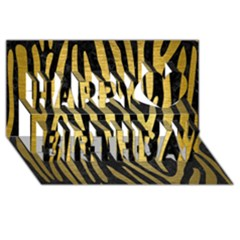 Skin4 Black Marble & Gold Brushed Metal (r) Happy Birthday 3d Greeting Card (8x4)