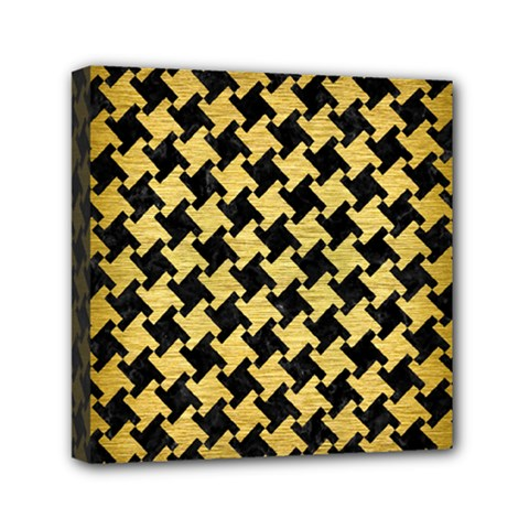 Houndstooth2 Black Marble & Gold Brushed Metal Mini Canvas 6  X 6  (stretched)