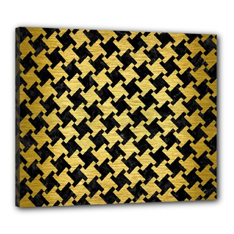 Houndstooth2 Black Marble & Gold Brushed Metal Canvas 24  X 20  (stretched)