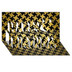 Houndstooth2 Black Marble & Gold Brushed Metal Happy Birthday 3d Greeting Card (8x4) by trendistuff