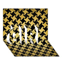Houndstooth2 Black Marble & Gold Brushed Metal Girl 3d Greeting Card (7x5)