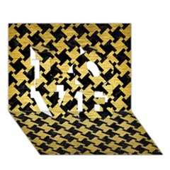Houndstooth2 Black Marble & Gold Brushed Metal Love 3d Greeting Card (7x5) by trendistuff