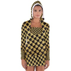 Houndstooth2 Black Marble & Gold Brushed Metal Long Sleeve Hooded T Shirt by trendistuff