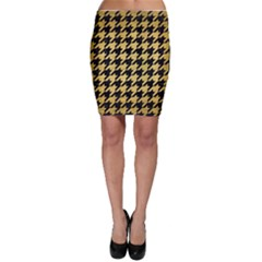 Houndstooth1 Black Marble & Gold Brushed Metal Bodycon Skirt by trendistuff