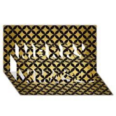 CIR3 BK MARBLE GOLD (R) Merry Xmas 3D Greeting Card (8x4)  by trendistuff