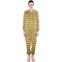 Brick1 Black Marble & Gold Brushed Metal (r) Hooded Jumpsuit (ladies)