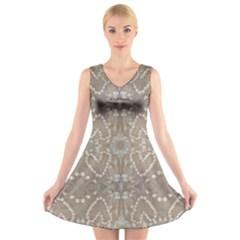 Love Hearts Beach Seashells Shells Sand Fabric  V Neck Sleeveless Skater Dress by yoursparklingshop