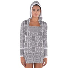 Grey White Tiles Geometric Stone Mosaic Tiles Women s Long Sleeve Hooded T Shirt