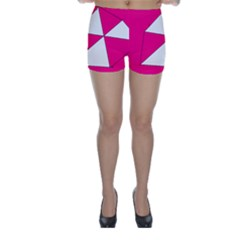 Funny Hot Pink White Geometric Triangles Kids Art Skinny Shorts by yoursparklingshop