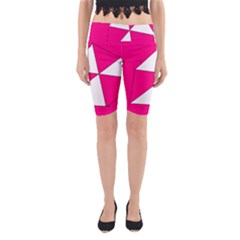 Funny Hot Pink White Geometric Triangles Kids Art Yoga Cropped Leggings by yoursparklingshop