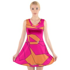 Funny Hot Pink Orange Kids Art V Neck Sleeveless Skater Dress