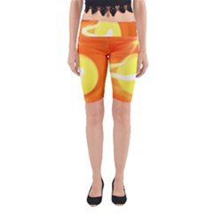 Sunny Orange Yellow Flame Yoga Cropped Leggings