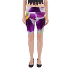 Purple Violet White Flower  Yoga Cropped Leggings