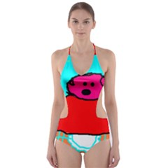 Funny Pig In Summer Red Blue Pink Kids Art Cut Out One Piece Swimsuit by yoursparklingshop