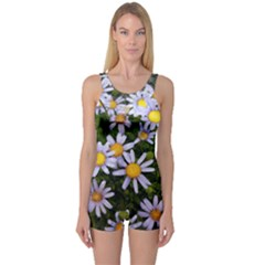 Yellow White Daisy Flowers One Piece Boyleg Swimsuit by yoursparklingshop