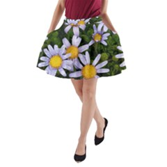 Yellow White Daisy Flowers A Line Pocket Skirt