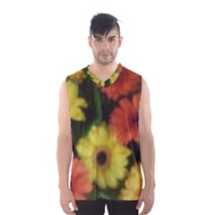 Orange Yellow Flowers Men s Basketball Tank Top by yoursparklingshop