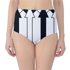 Funny Black And White Stripes Diamonds Arrows High Waist Bikini Bottoms by yoursparklingshop