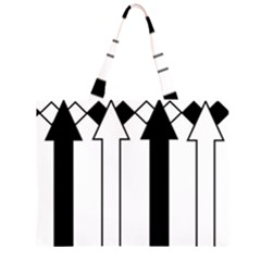 Funny Black And White Stripes Diamonds Arrows Zipper Large Tote Bag