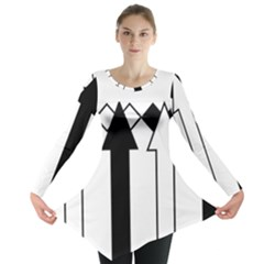 Funny Black and White Stripes Diamonds Arrows Long Sleeve Tunic  by yoursparklingshop