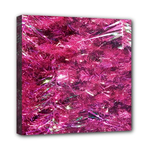 Festive Hot Pink Glitter Merry Christmas Tree  Mini Canvas 8  X 8  by yoursparklingshop