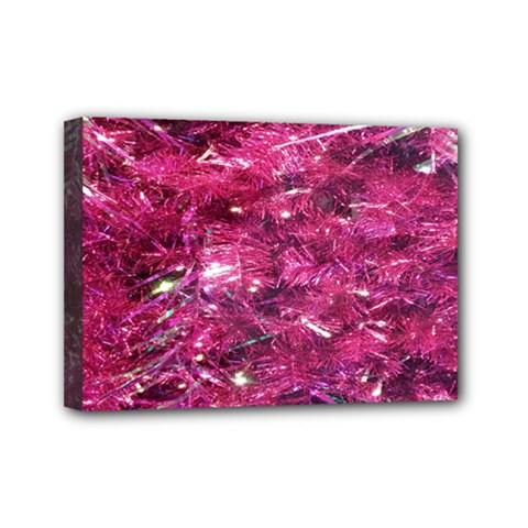 Festive Hot Pink Glitter Merry Christmas Tree  Mini Canvas 7  X 5  by yoursparklingshop