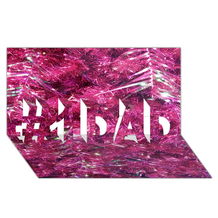 Festive Hot Pink Glitter Merry Christmas Tree  #1 DAD 3D Greeting Card (8x4)