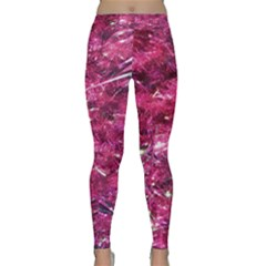 Festive Hot Pink Glitter Merry Christmas Tree  Yoga Leggings by yoursparklingshop