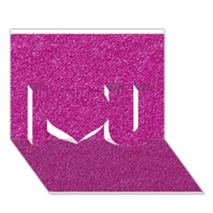 Metallic Pink Glitter Texture I Love You 3d Greeting Card (7x5)  by yoursparklingshop