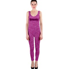 Metallic Pink Glitter Texture Onepiece Catsuit by yoursparklingshop