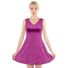 Metallic Pink Glitter Texture V Neck Sleeveless Skater Dress