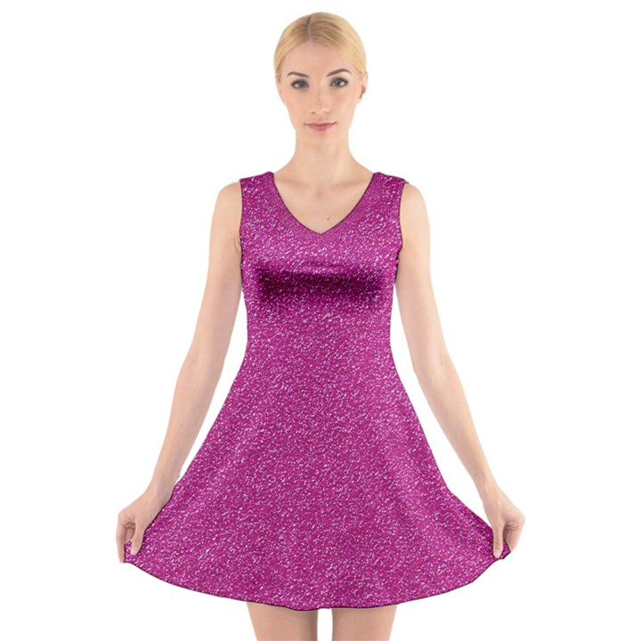 Metallic Pink Glitter Texture V-Neck Sleeveless Skater Dress
