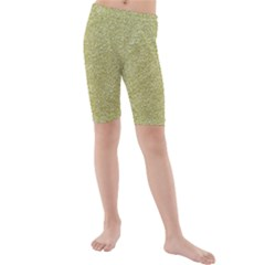 Festive White Gold Glitter Texture Kid s Mid Length Swim Shorts by yoursparklingshop