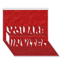 Festive Red Glitter Texture You Are Invited 3d Greeting Card (7x5)  by yoursparklingshop