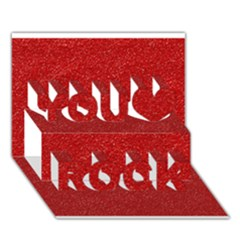 Festive Red Glitter Texture You Rock 3d Greeting Card (7x5)  by yoursparklingshop