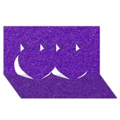 Festive Purple Glitter Texture Twin Hearts 3d Greeting Card (8x4)  by yoursparklingshop
