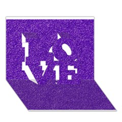 Festive Purple Glitter Texture Love 3d Greeting Card (7x5)  by yoursparklingshop
