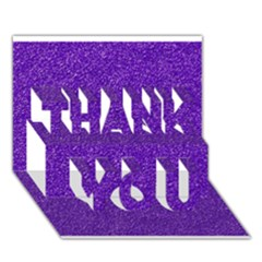 Festive Purple Glitter Texture Thank You 3d Greeting Card (7x5)  by yoursparklingshop