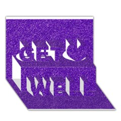 Festive Purple Glitter Texture Get Well 3d Greeting Card (7x5)  by yoursparklingshop